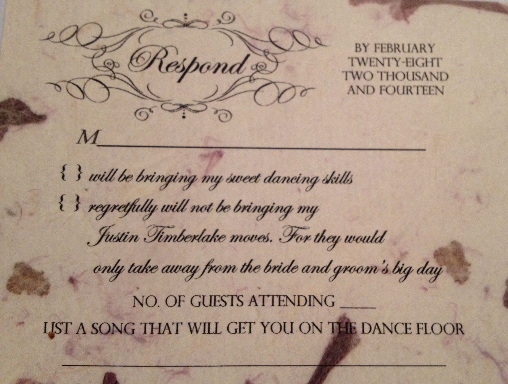 Funny Wedding RSVP Card Took A Week To Think Of Something Creative The Response