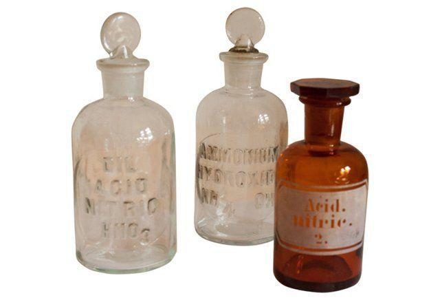 Antique Pharmacy Bottles, S/3