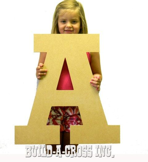 Unfinished wooden Letters (A) 24\'\' X 3/8\'\' thick (MDF) wood letter ...