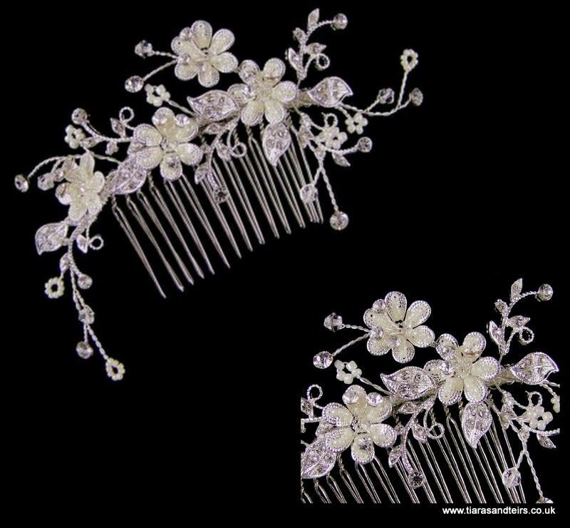 Petula flower bridal hair comb via TiarasAndTeirs. Click on the image to see more!