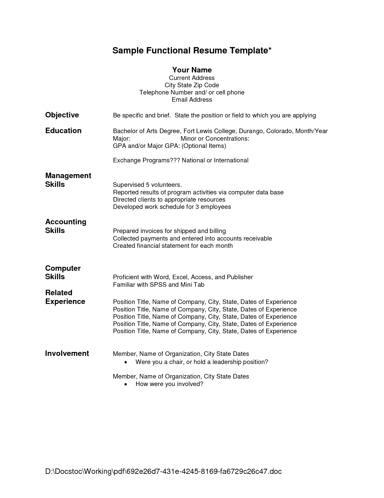 Functional Resume Template Sample One Page Functional Resume  Google Search  Resumes