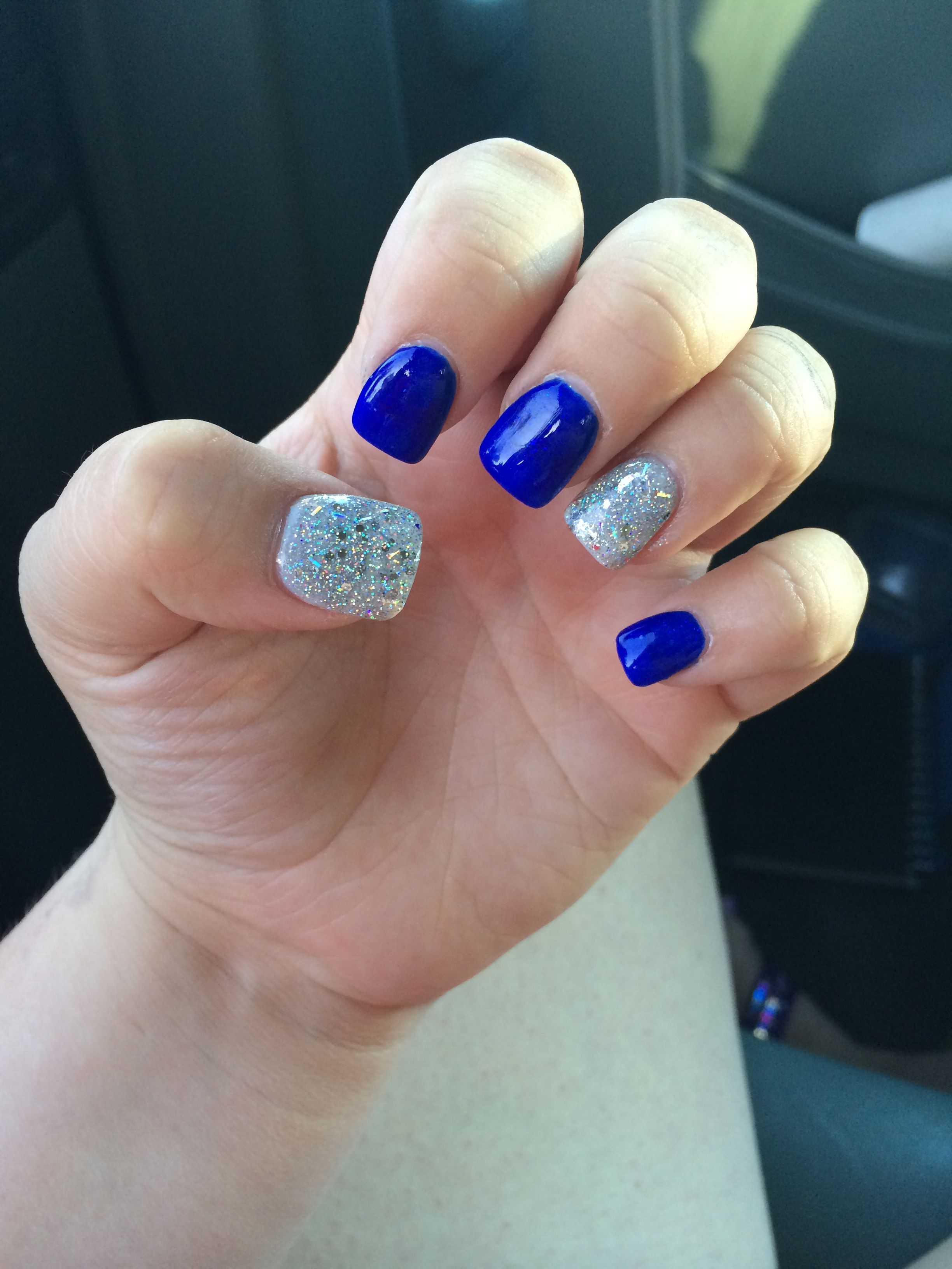 Royal Blue With Silver Glitter Nails Blue Shellac Nails Blue And Silver Nails Blue Glitter Nails