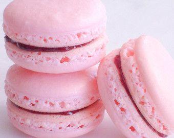 French Macaron Cookies 12 Raspberry Rose by SplendidSweetShoppe