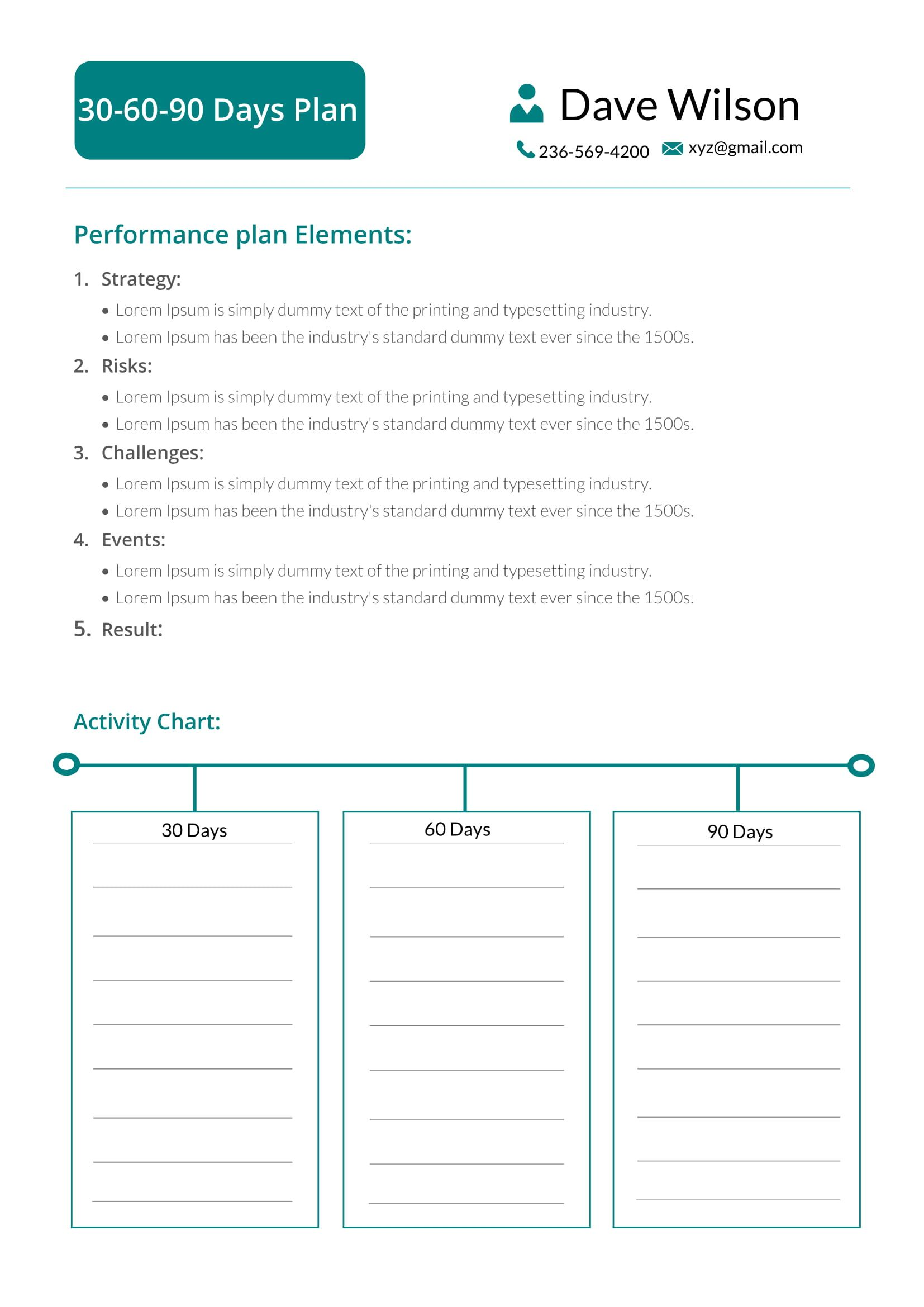 Free 30 60 90 Days Plan Template 90 day plan, Day plan
