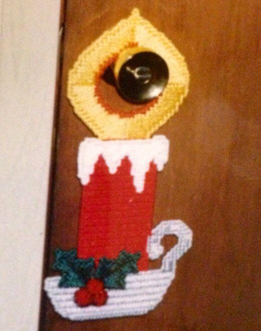 Christmas Candle Doorknob Hanger Plastic Canvas | Etsy