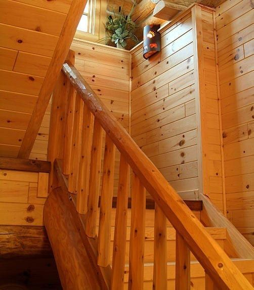Best Staircase With Cedar Railing And Knotty Pine Paneling 400 x 300