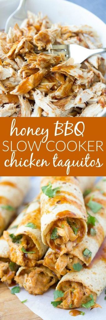 Honey BBQ Slow Cooker Chicken Taquitos