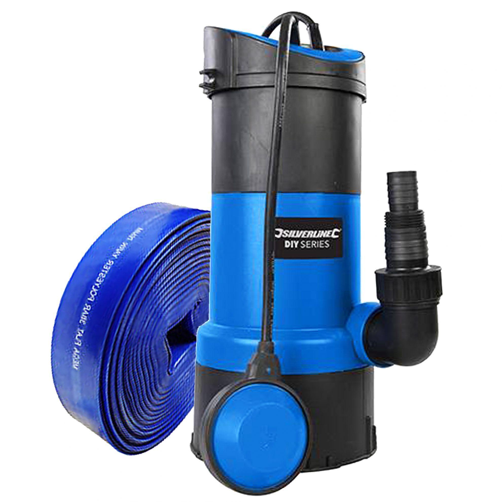 Submersible Water Pump 750w & 10 metre Lay Flat Hose 13000
