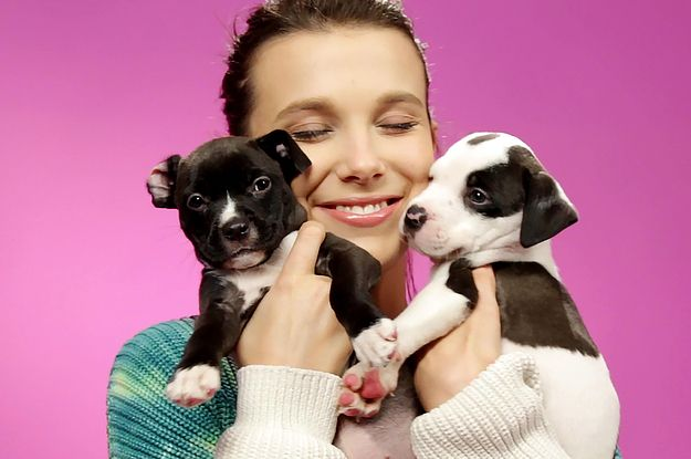 Millie Bobby Brown Played With Puppies While Spilling The