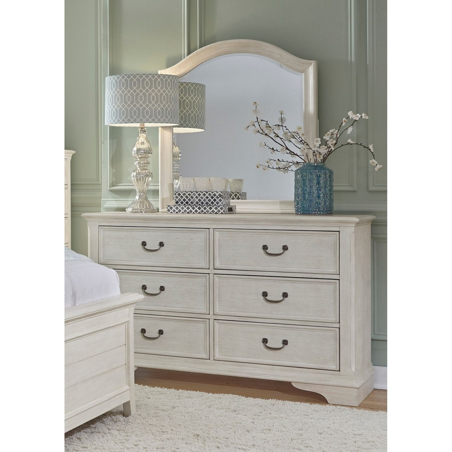 Liberty Bayside Heavy Wire Brushed Antique White Dresser And Mirror