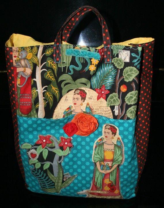 Frida  Hand Stitched Tote Bag Frida Handbag Frida  Tote Bag Frida Collage Tote Bag.