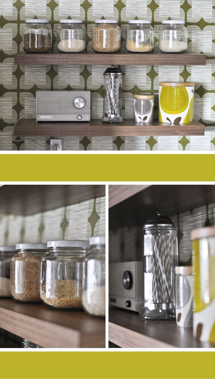 Kitchen wall shelves & Orla Kiely Flower Tile Wallpaper #orla_kiely #wallpaper
