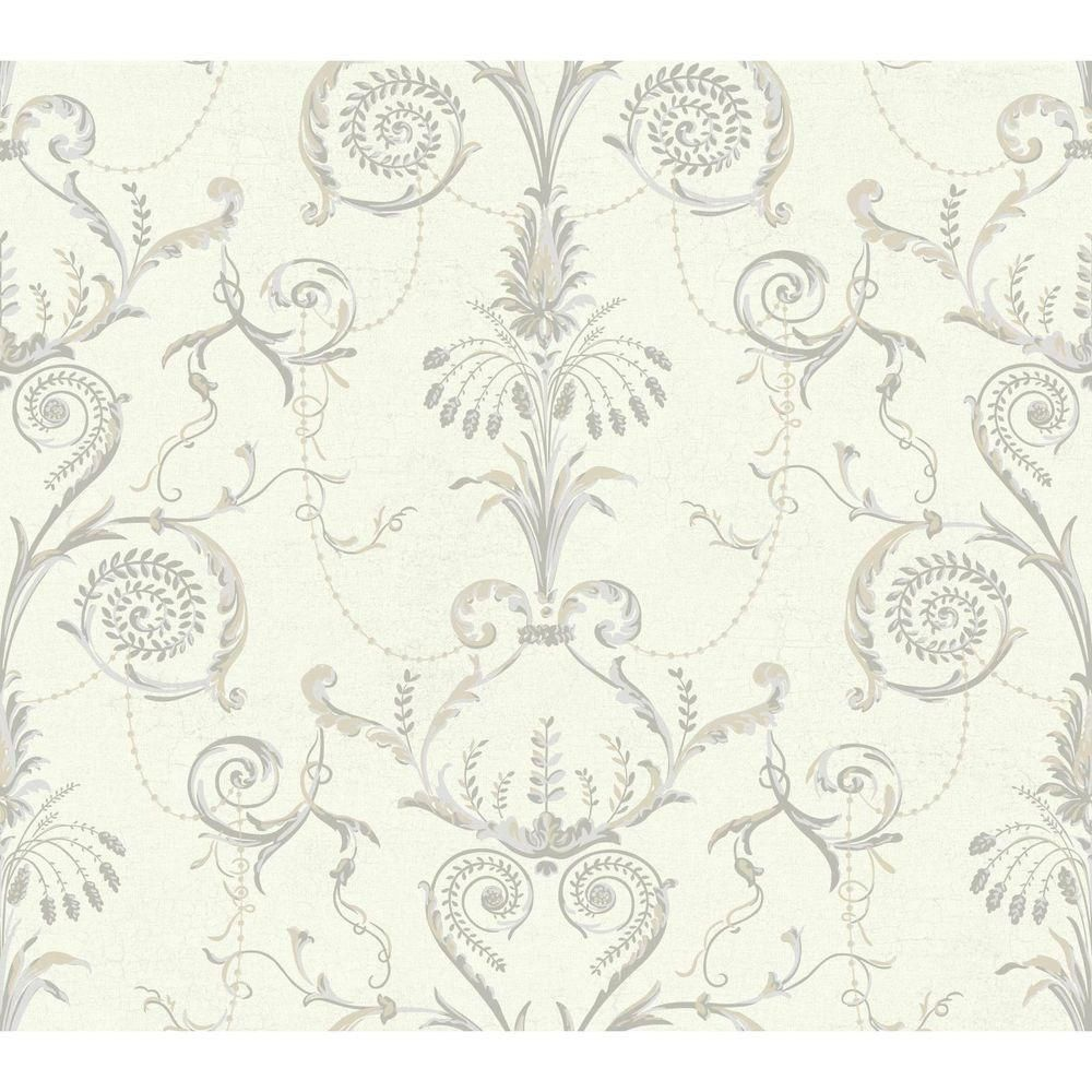 Black And White Neo Classic Damask Wallpaper Ivory Warm Tan Light