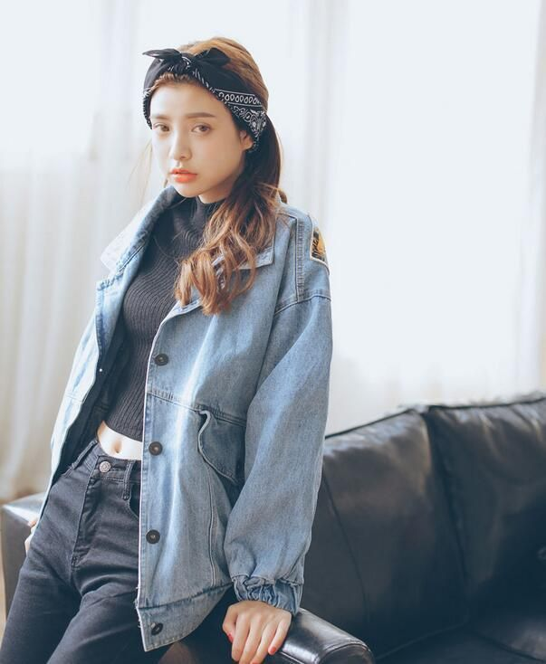 Details about Fashion Korea Style Women Washes Blue Loose