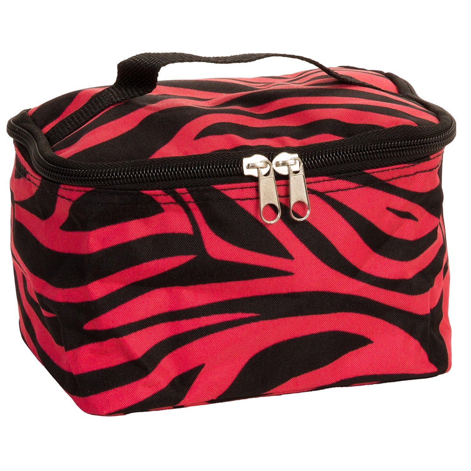 Cute! Cosmetic Makeup Bag Case Zebra Print Hot Pink Black
