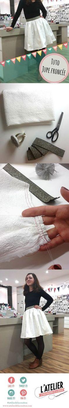 jupe fronc e lastique tuto par l 39 atelier de la cr ation et pik et kou couture costura. Black Bedroom Furniture Sets. Home Design Ideas