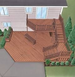 Extend length of house to attache to garage bottom for Split level garden decking