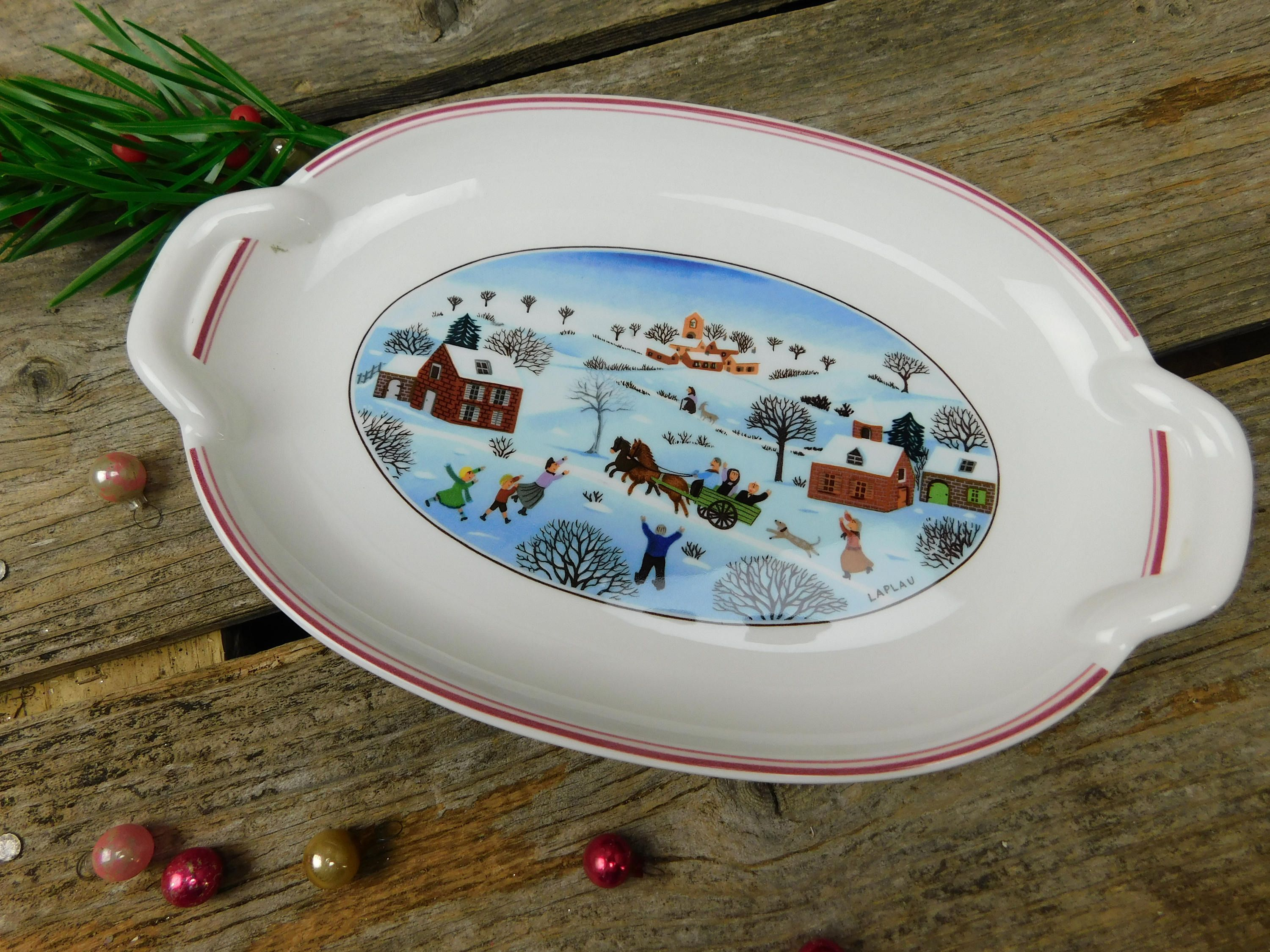 Vintage Villeroy Boch Naif Christmas 2 Handle Oval Pickle Etsy Relish Trays Villeroy Boch Christmas Date