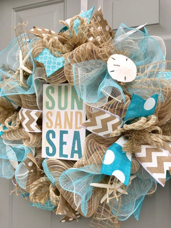 Photo of Beach Burlap Wreath, Seashell Wreath, Sun Sand Sea, Sea Shell Wreath, Beach Wreath, Starfish Wreath