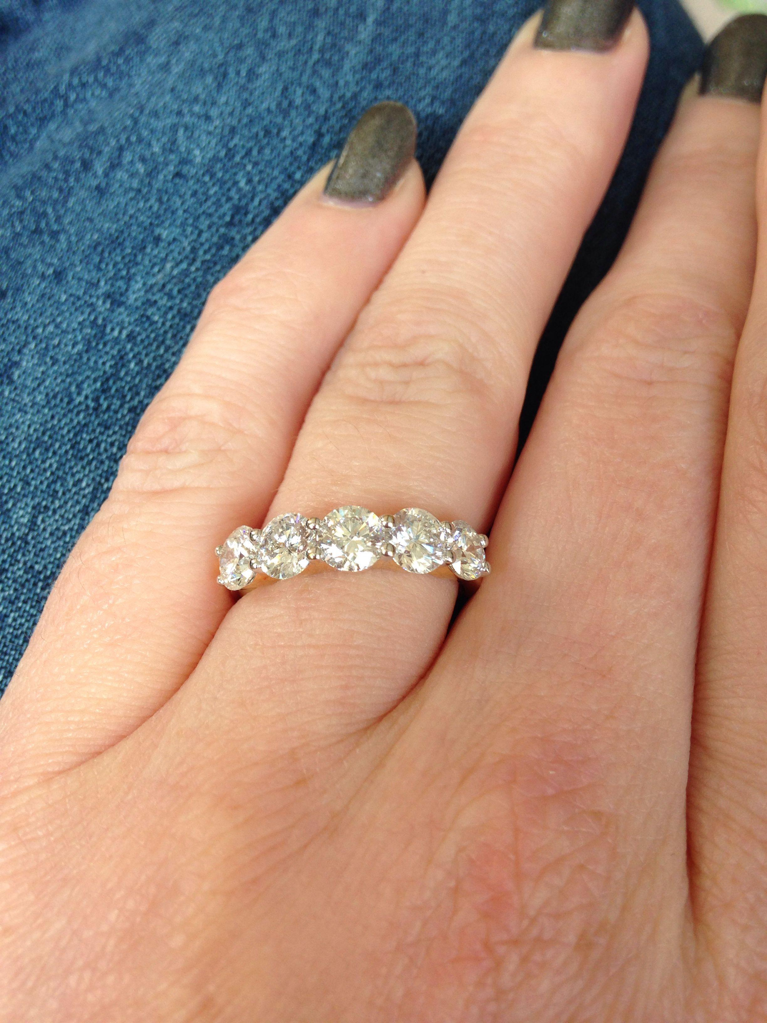Five Stone Diamond Eternity Ring 2 5 Carat 5 X 0 5ct Round Brilliant Diamonds In 18c Anniversary Engagement Ring Diamond Anniversary Rings Big Wedding Rings