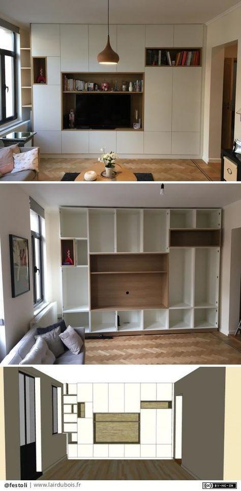 Grand meuble de rangement avec portes peintes et niches en chêne par - Renovation Meuble En Chene