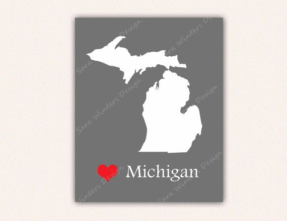 Michigan Digital Print - Gray and White State Silhouette - 8x10 Instant Download - Custom Home Decor - Printable Poster - Love My State