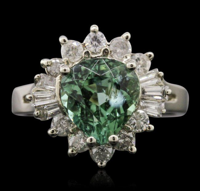 14KT White Gold 2.52ct Tourmaline and Diamond Ring : Lot 547A