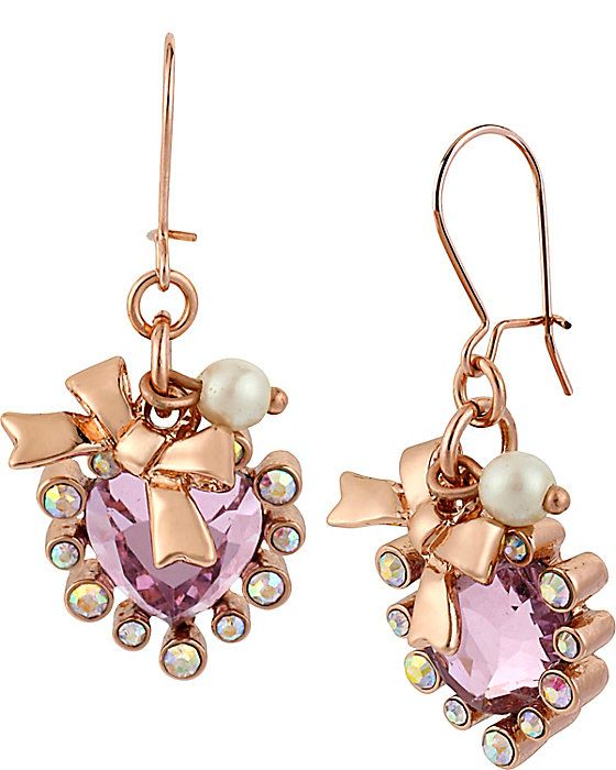 Loving these. Pink Crystal Heart Drop Earrings.