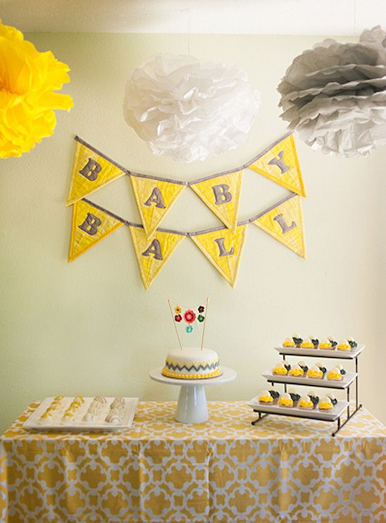 Gender Neutral Baby Shower In Yellow, Gray, And White