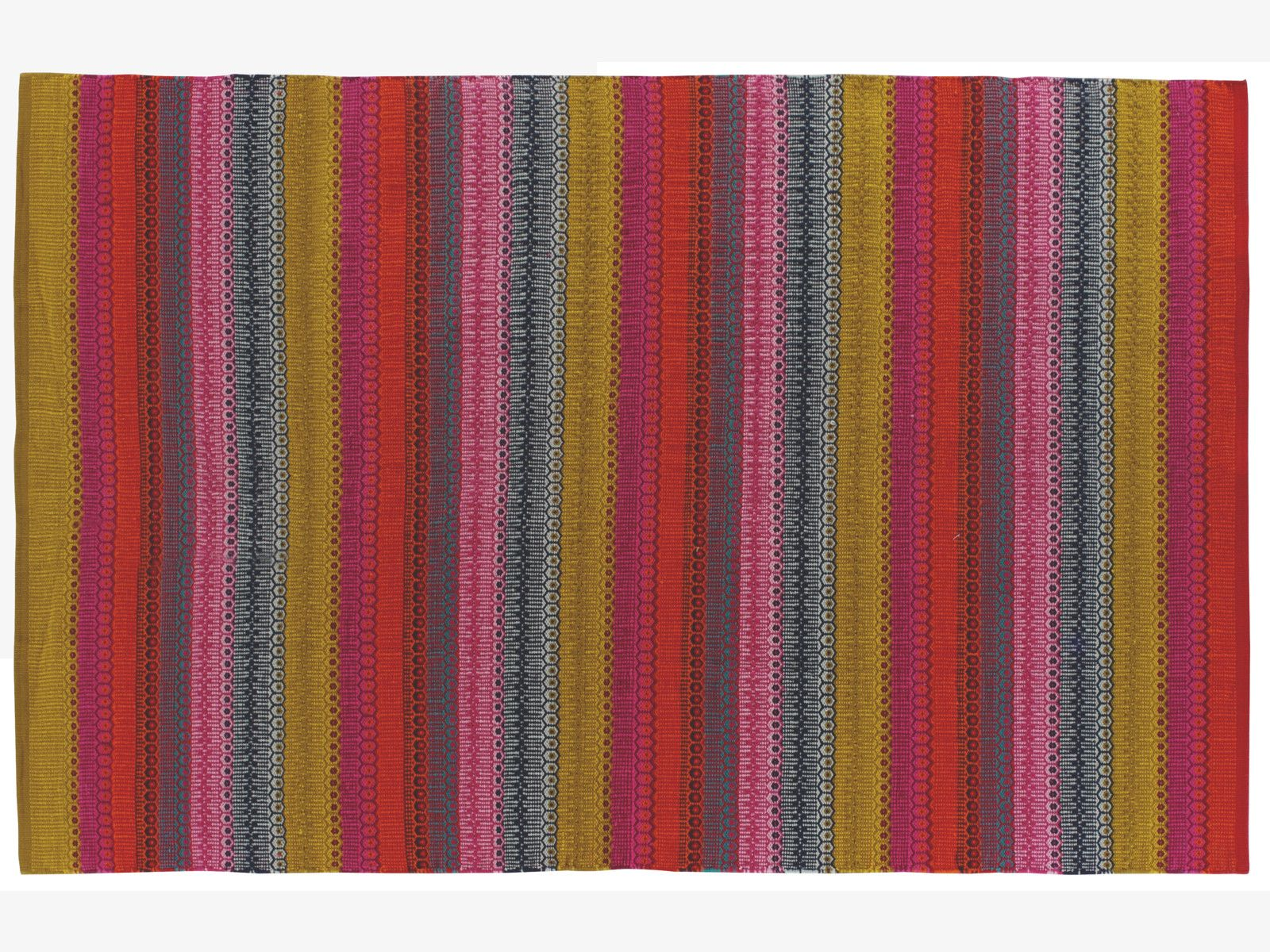 Intricately Hand Woven With Stripes And Patterns The Agnes Small Multi Coloured Flat Weave Cotton Rug Is Hard Wearing Ideal For Brighterning Up Any