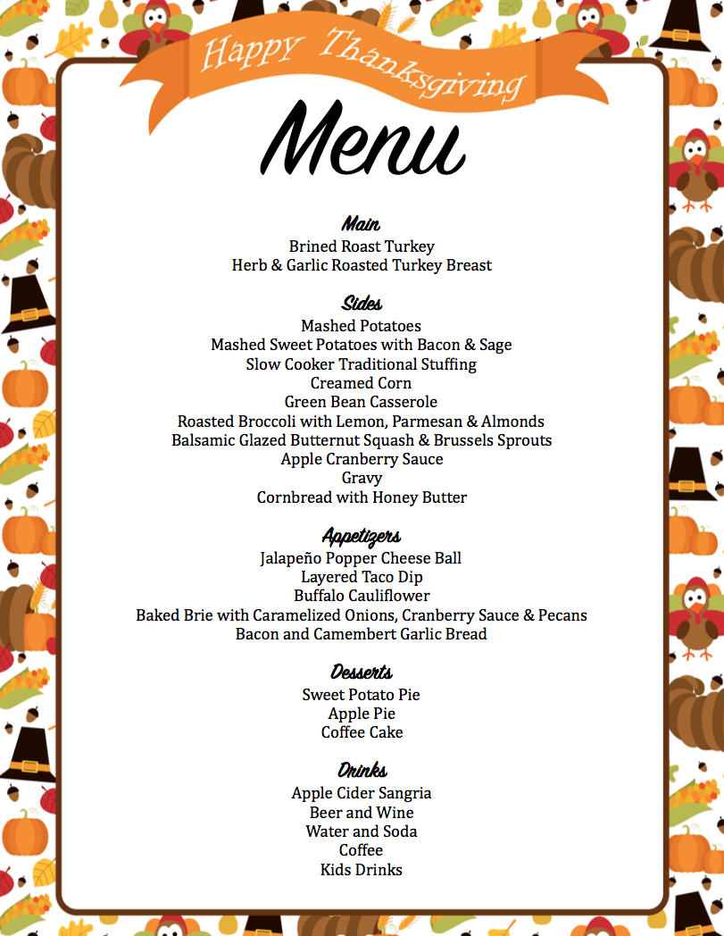 Thanksgiving Planner - Get A Head Start on Thanksgiving Now with FREE Printables! - Mom's Bistro
