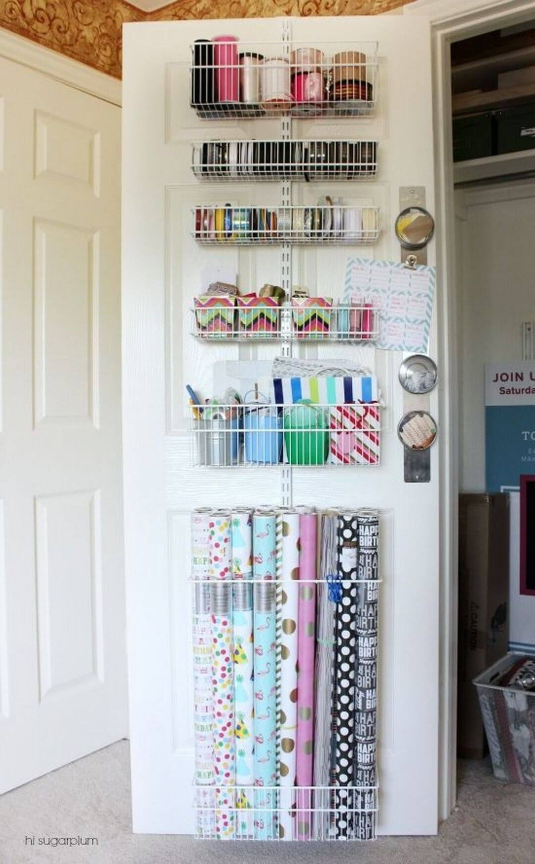 Photo of Over Door Storage Makes Giftwrap a Snap