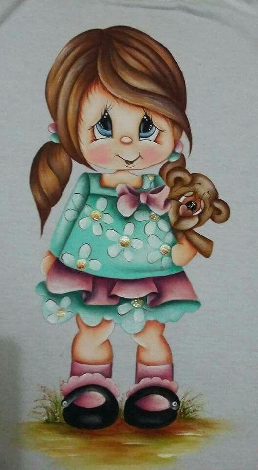 Pintura em tecido bonecas pano de prato pintura em - Dibujos para pintar en tela infantiles ...