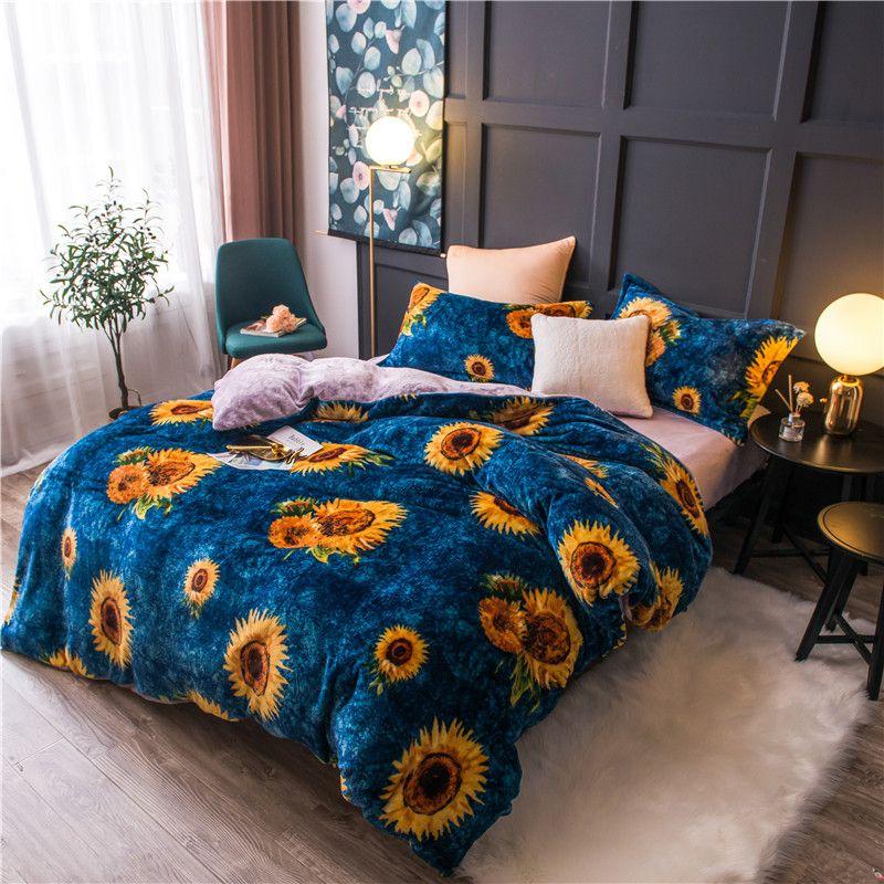 Photo of Sunflower Fleece Warm Twin Full Queen King Size Bedding Set Bed Set Duvet Cover Flat Sheet Bed Sheet Parure De Lit Ropa De Cama
