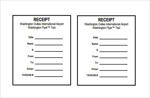 Taxi Receipt Receipt Template Doc for Word Documents in Different