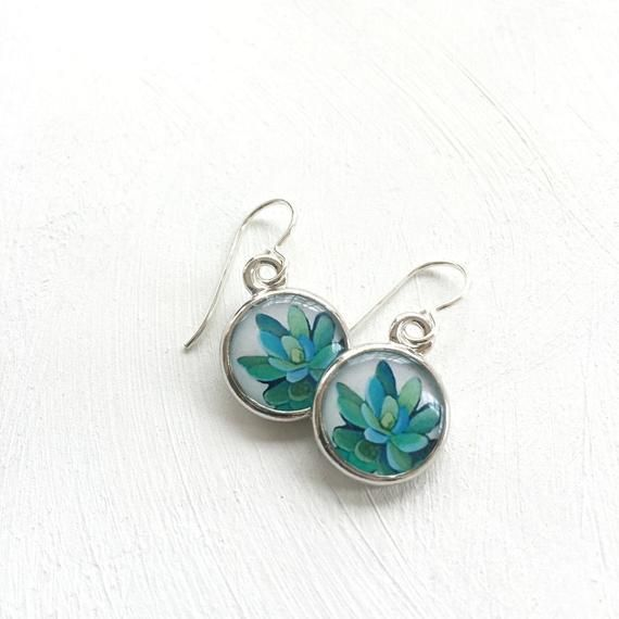 Photo of Shades of Green Succulent Earrings, Succulent Wedding Jewelry, unique bridesmaid earrings, plant jewelry