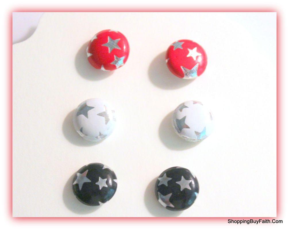 Red, White & Blue post earrings #shoppingbuyfaith.com