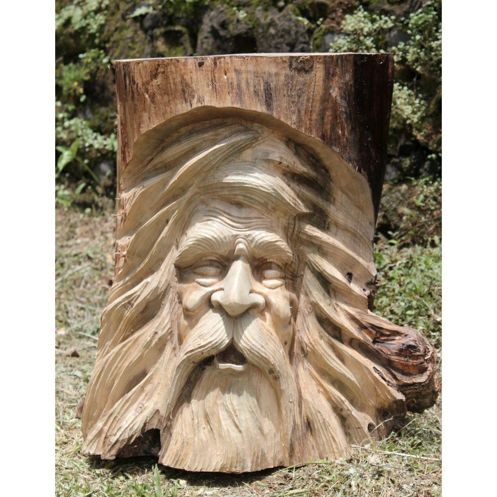 Solid wooden ornate green man tree trunk plant pot holder