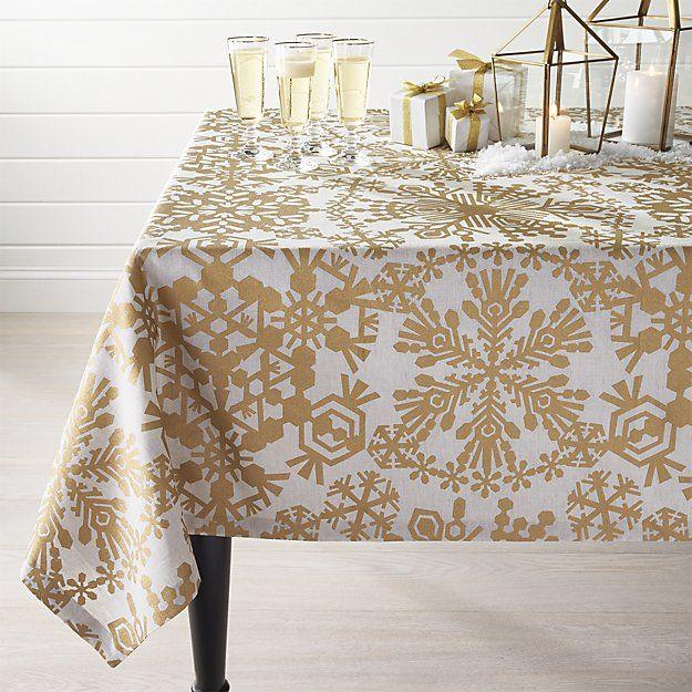 Golden Snowflake Tablecloth Crate And Barrel Crate Barrel