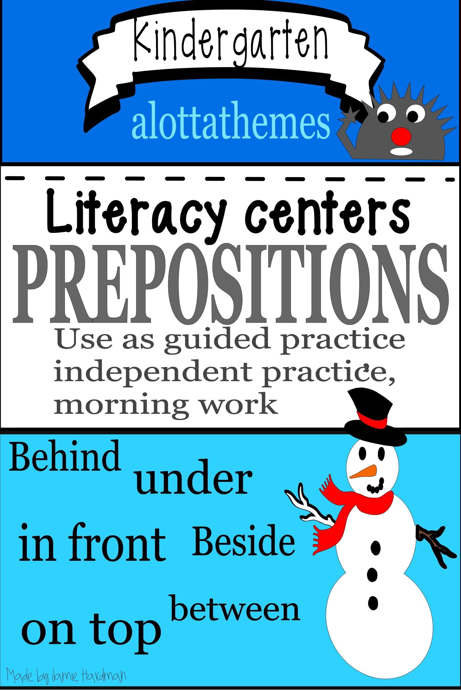 Prepositional Phrases Snowman Activity Package