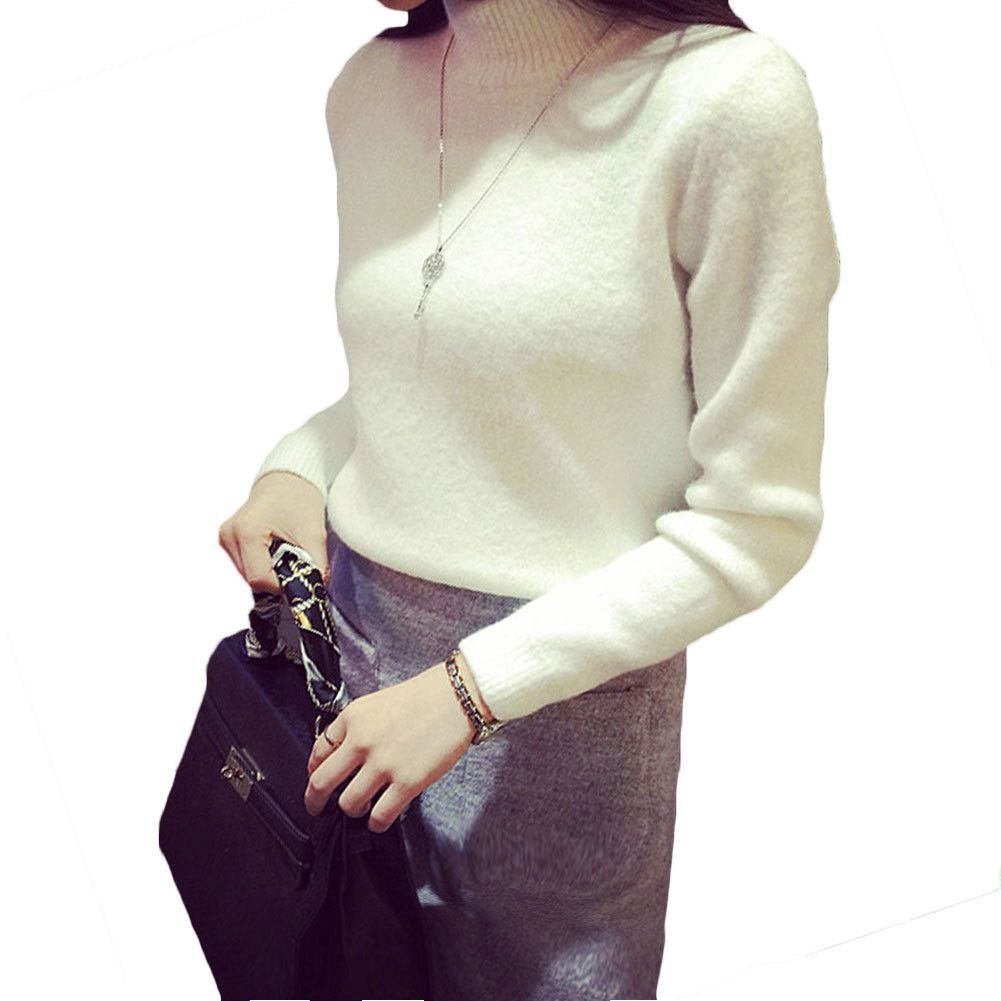 Women Winter Sweater Thick Knitted Sweater Long sleeved White ...