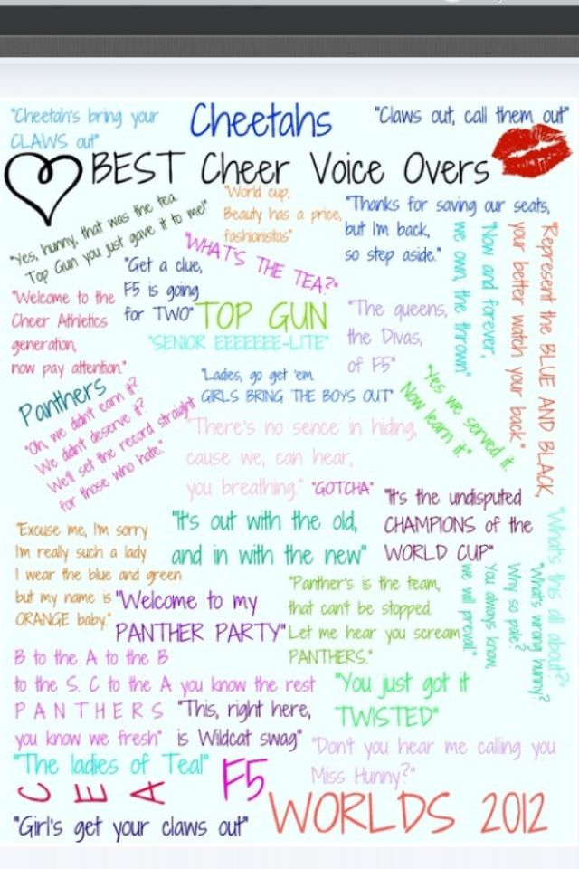 Cheerleading worlds voiceovers Yesss **love it Pinterest