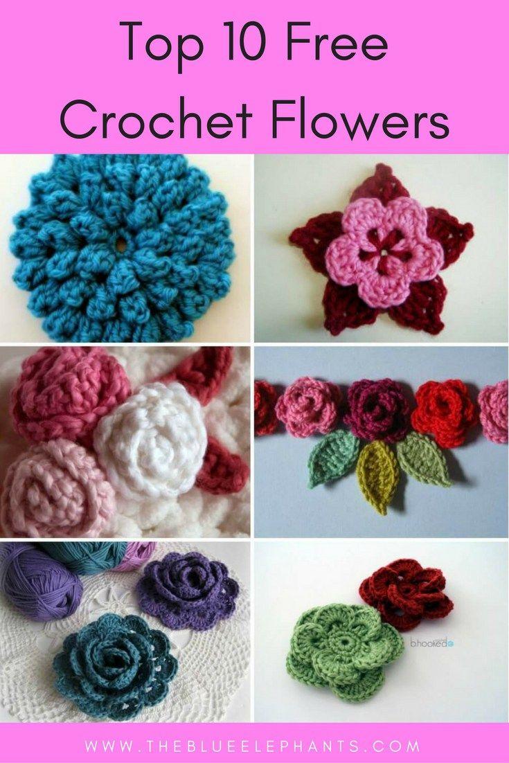 Top 10 Free Crochet Flower Patterns | Tejido, Flores y Ganchillo
