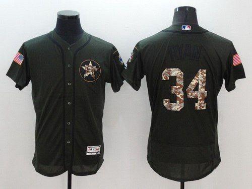 mens houston astros 34 nolan ryan retired green salute to service 2016 flexbase majestic baseball