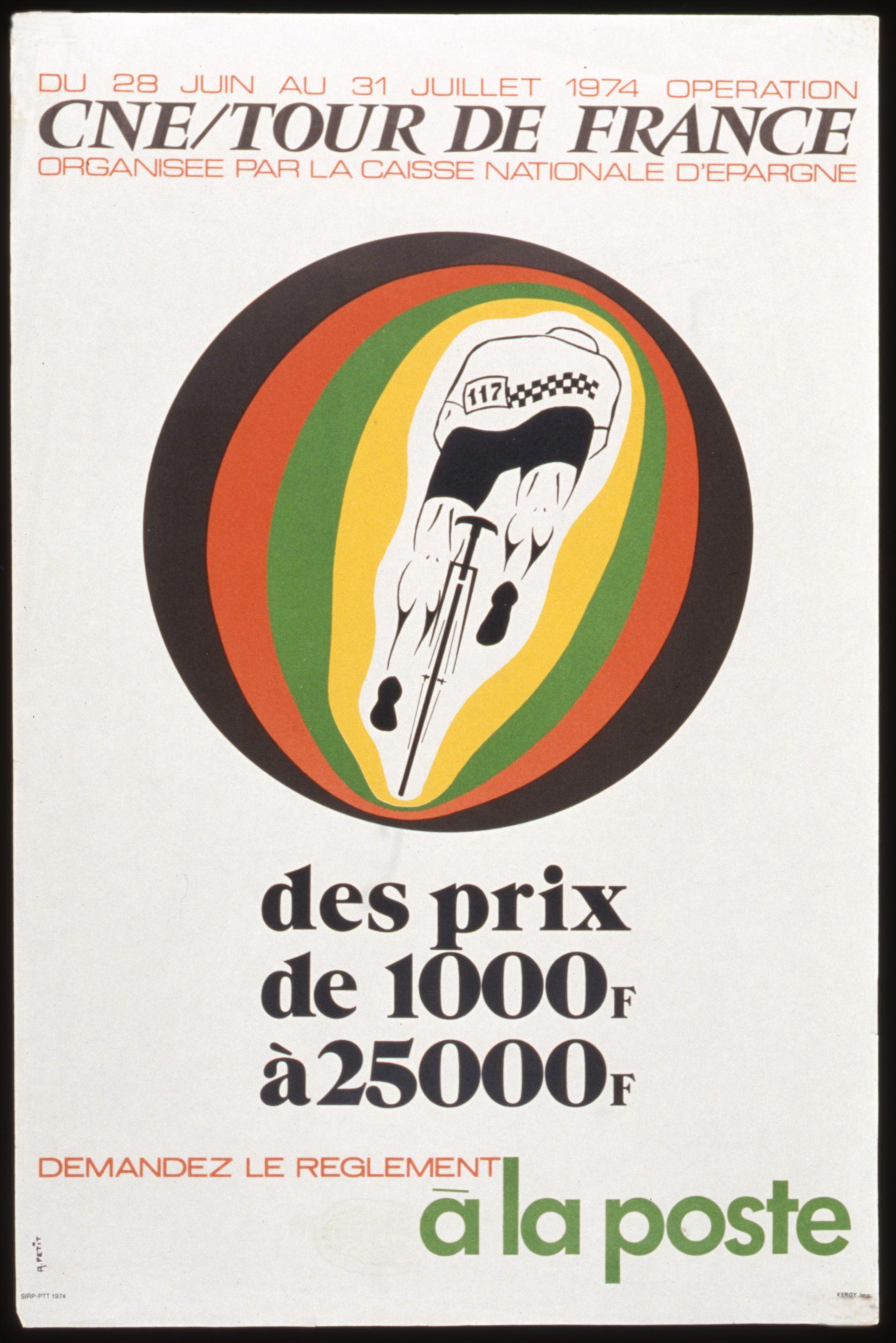affiche cne tour de france 1974 l 39 adresse mus e de la poste la poste dr affiches et. Black Bedroom Furniture Sets. Home Design Ideas