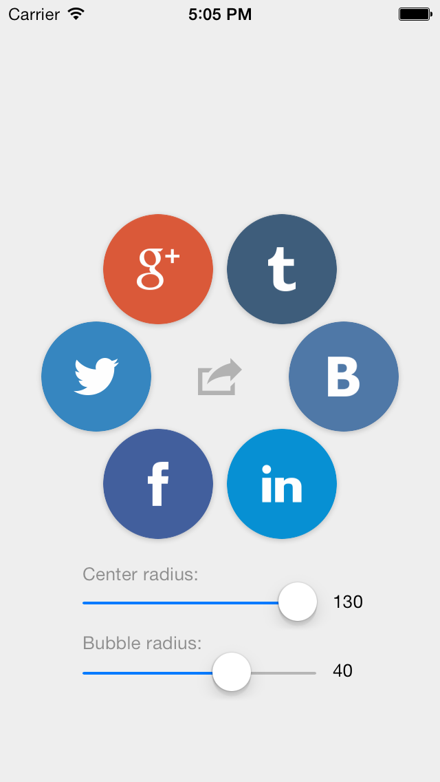 Animated Social share buttons control for iOS | iOS Controls