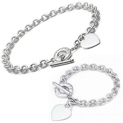 Tiffany And Co Sets 5 Open Heart Necklace And Bracelet Silver 001