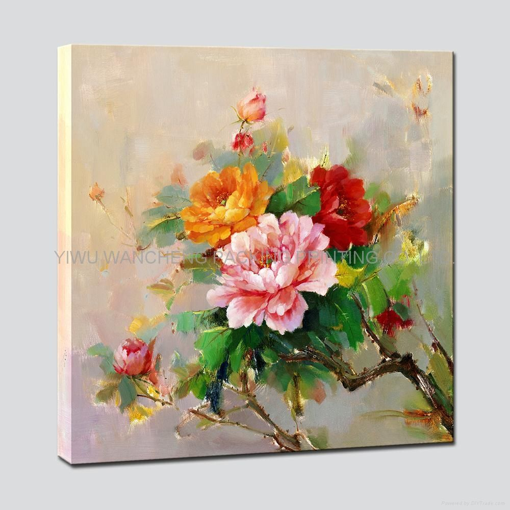 Flower canvas painting calligraphies rose art flowers 4 for Flower paintings on canvas