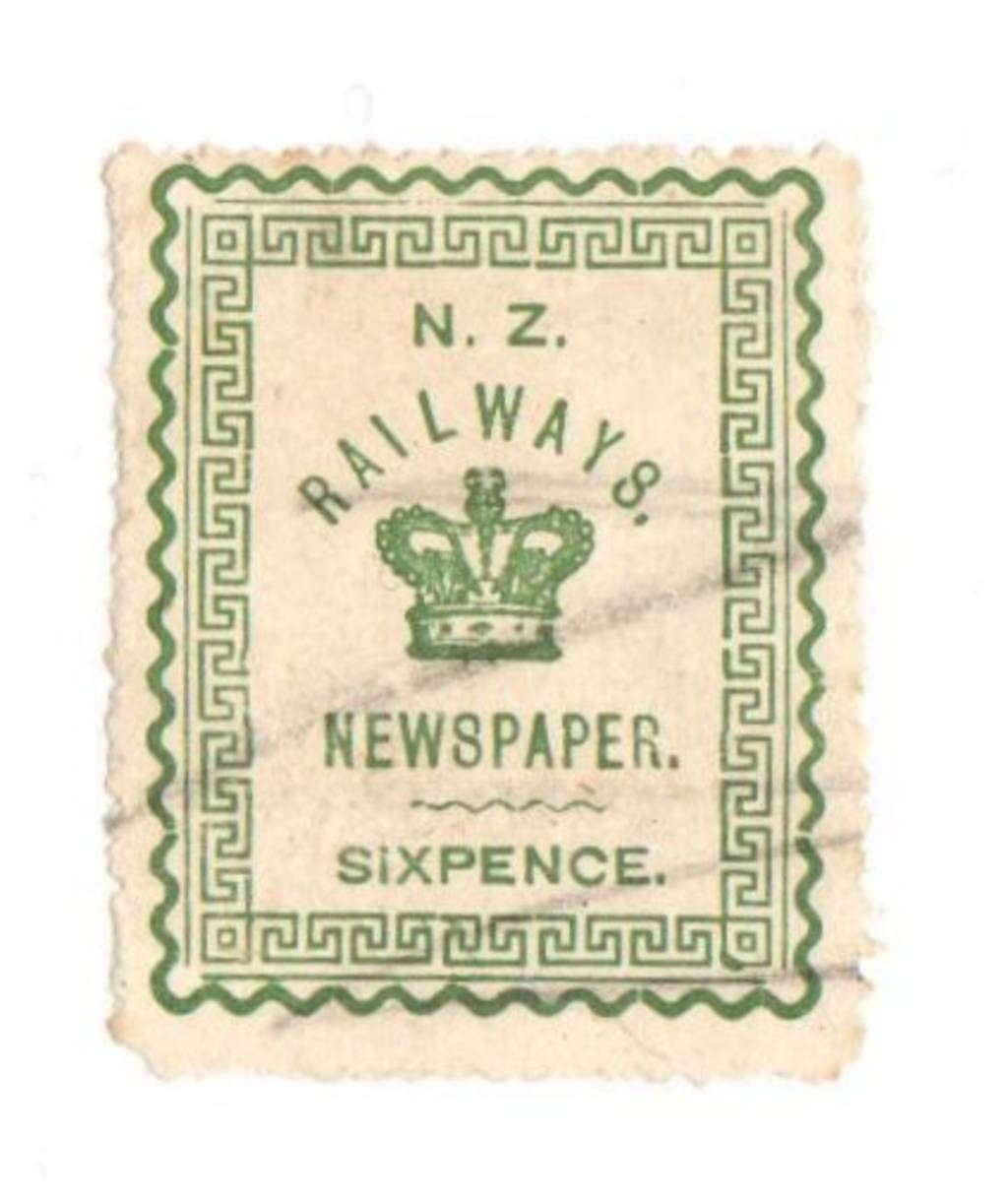 NEW ZEALAND 1890 Fiscal Railways Newspaper 6d Green. Very light cancel. - 74645 - Fiscal - NZ Fiscals Railway Charges - New Zealand Stamps - NEW ZEALAND - EASTAMPS