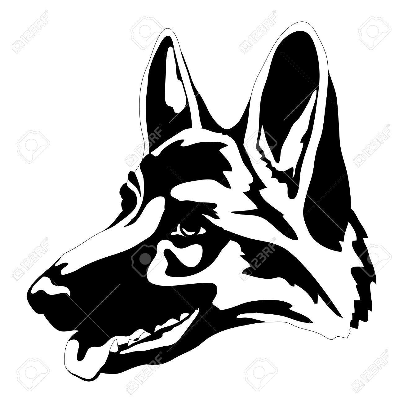 German Shepherd Dog Head Face Black Silhouette Royalty Free German Shepherd Art German Shepherd German Shepherd Tattoo